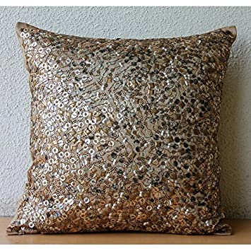 Amazon Gold Accent Pillows 40D Metallic Sequins Sparkly Gliiter Delectable Sparkly Decorative Pillows