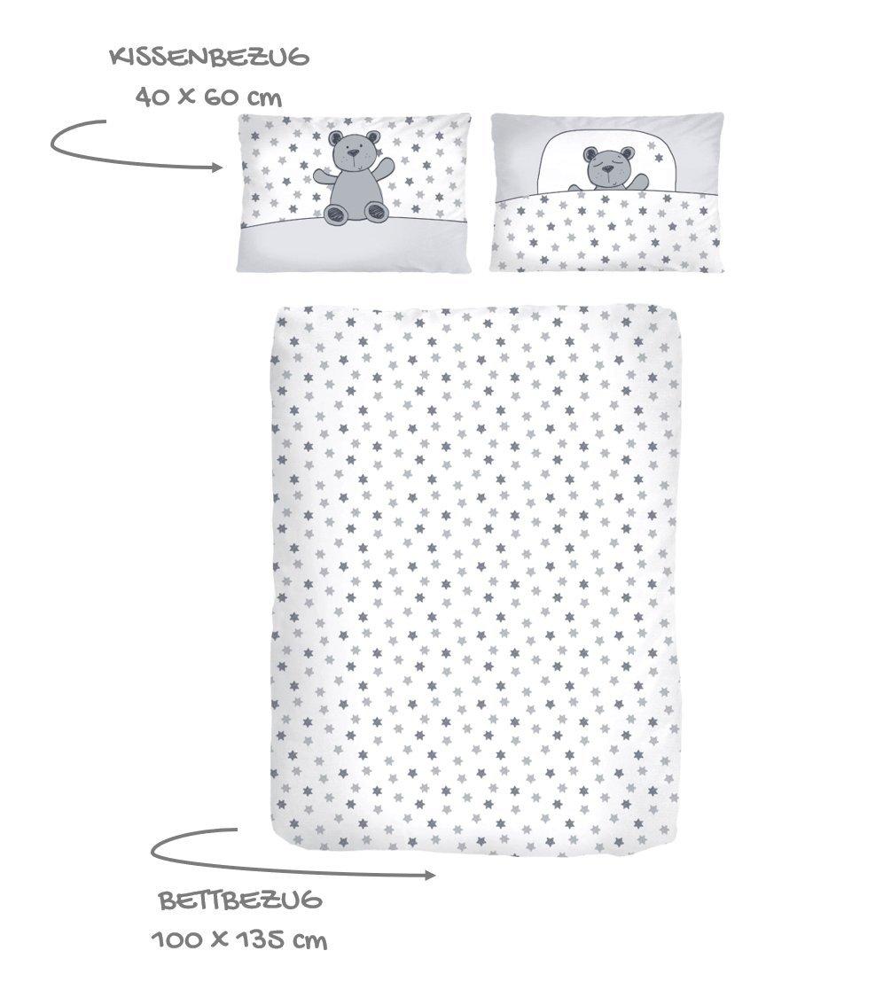 STERNE Parure de lit pour bébé – Parure de lit pour fille et garçon 100% coton – Motifs étoiles et oursons – Blanc/gris, argenté – Housse de couette 100 x 135 cm + taie d'oreiller 40 x 60 cm Dobnig