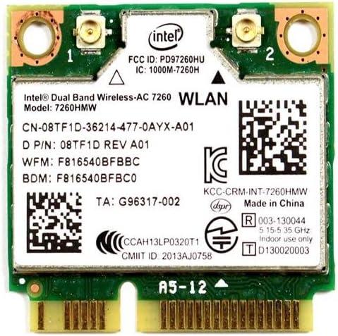 8TF1D - Intel Dual Band Wireless-AC 7260 WLAN WiFi 802.11 ac/a/b/g/n + Bluetooth 4.0 Half-Height Mini-PCI Express Card - 8TF1D