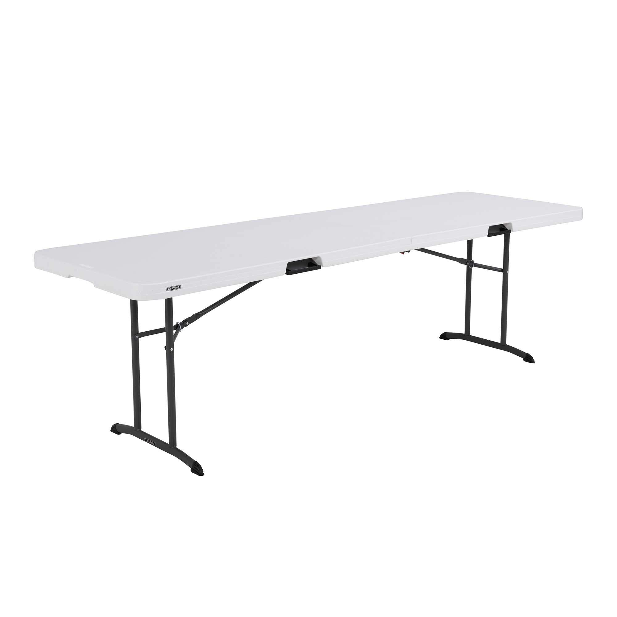 Lifetime 80733 Fold in Half Banquet Table, 8-Foot, White Granite by Lifetime