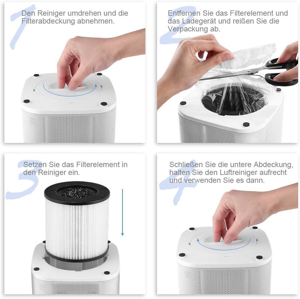 yissvic purificador de aire Air Purifier 5 niveles de filtrado para 99,97% de potencia de filtro con carbón activo y HEPA – Filtro combinado Ideal para alérgicos y ...