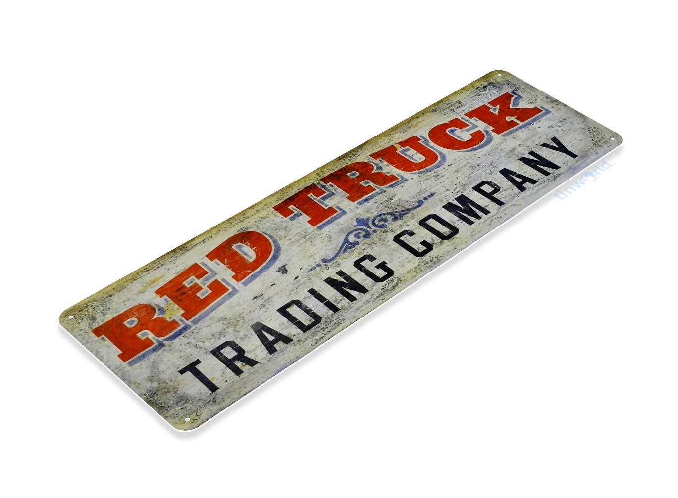 Tinworld Tin Sign Red Truck Trading Company Retro Rustic Auto Shop Garage Metal Sign Decor B583
