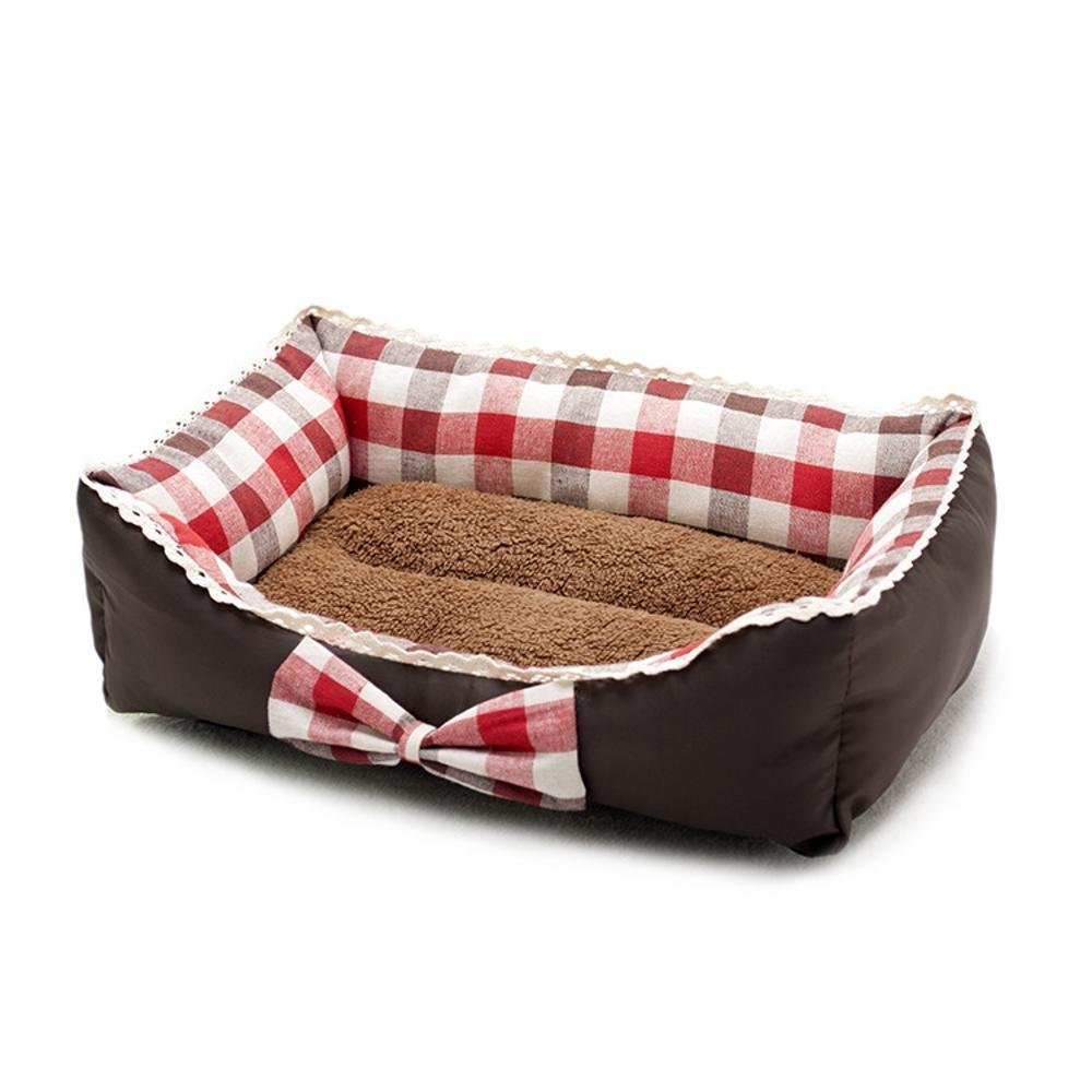 L YunYilian Pet Bolster Dog Bed Comfort Pet Supplies Pet Litter mat Fresh Art Butterfly Knot Kennel Princess Bed lace Dog Bed cat nest (Size   L)