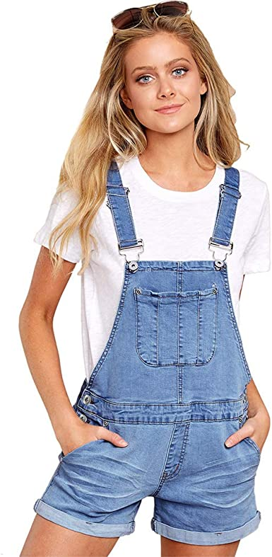 Womens Denim Shorts Bib Overalls Adjustable Strap Rompers Jeans