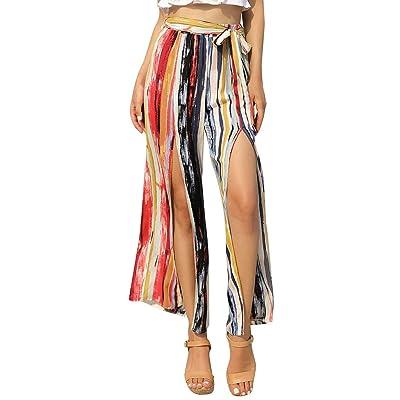 ACEBABY Pantalones Verano Mujer Rayas Estampados Casual Pantalones Harem Boho de Impreso Cintura de Cordón Pantalón Adecuado para Vacaciones en la Playa: Ropa y accesorios