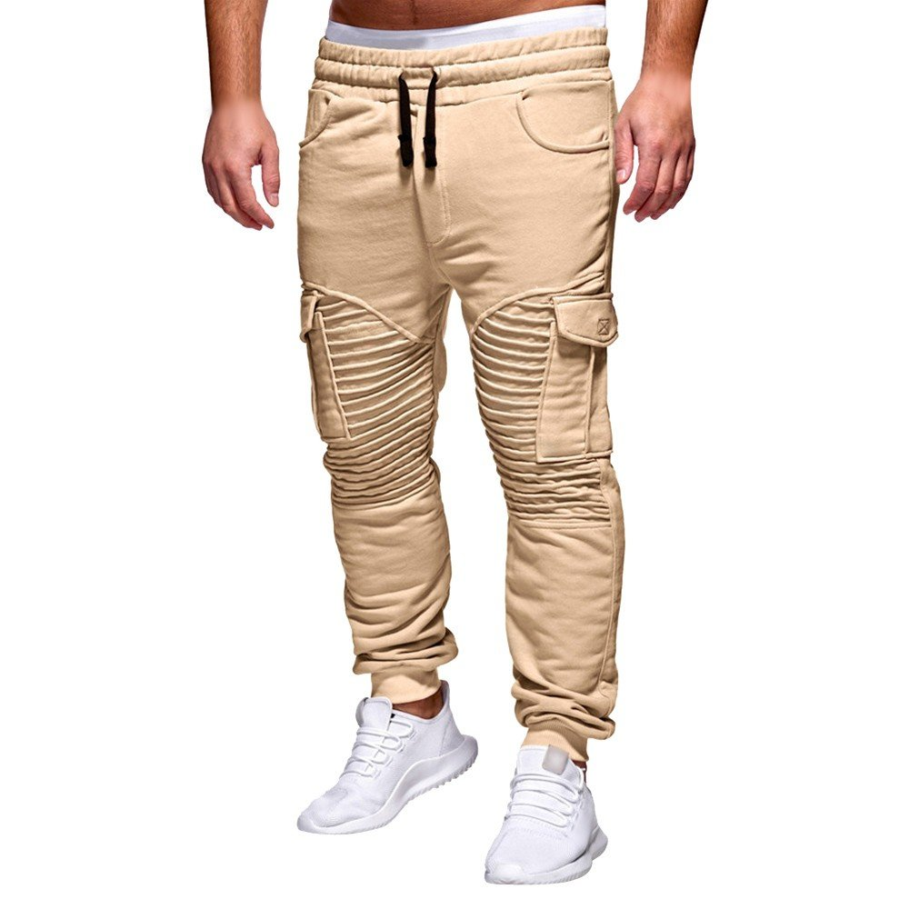 Spbamboo Mens Pants Slacks Casual Elastic Joggers Sport Baggy Pockets Trousers