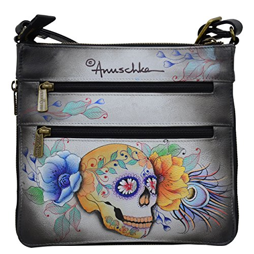 Expandable Leather Crossbody Anuschka Calaveras Genuine Women��s Bag de Az��car Travel nwZnTIxv