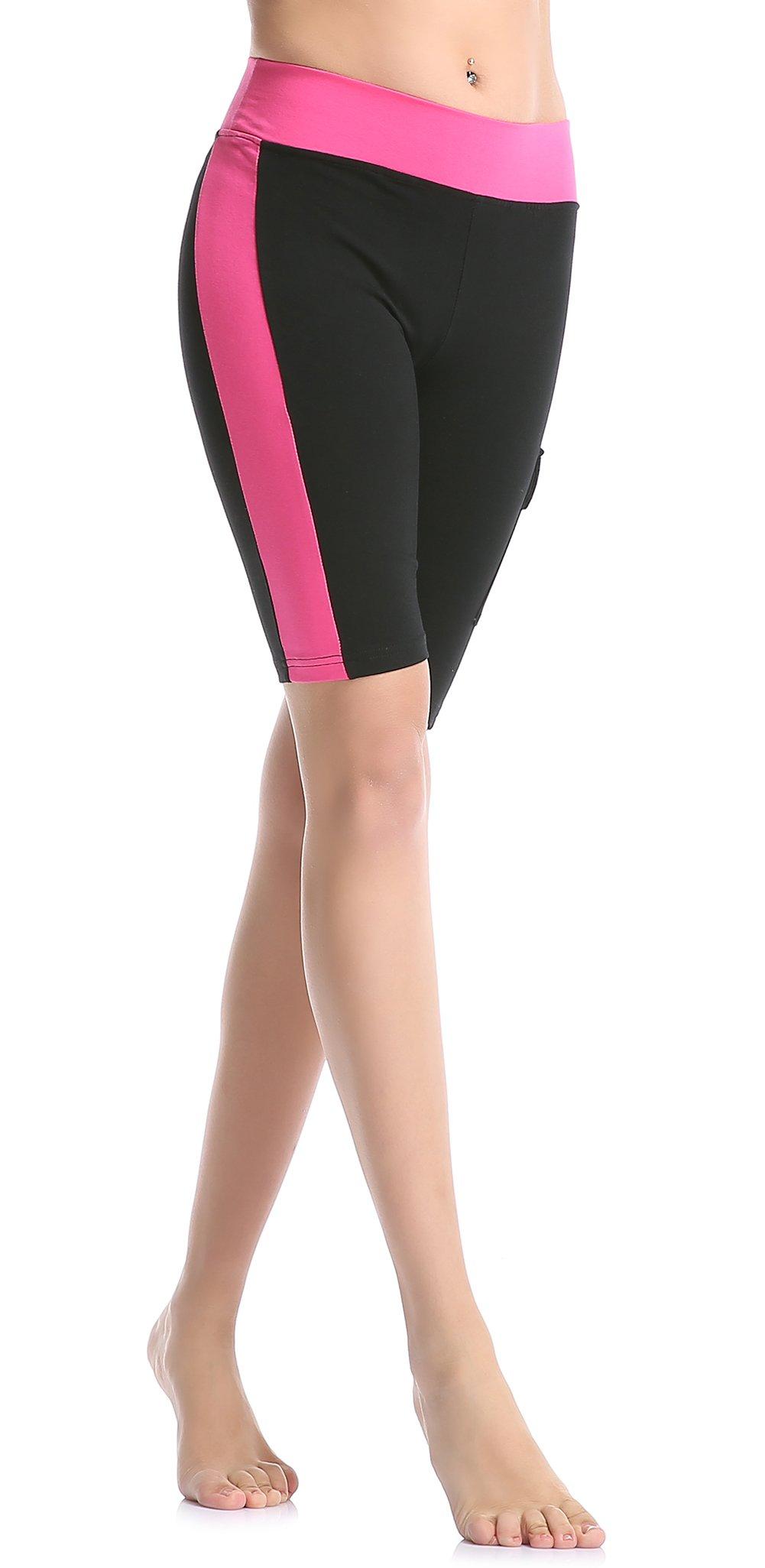 ABUSA Women's Cotton Workout Bike Yoga Shorts - Tummy Control S Rose Red by ABUSA
