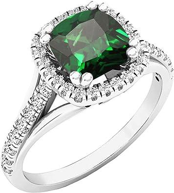 White Gold Dazzlingrock Collection 14K 7X5 MM Emerald Shape Gemstone /& Round White Diamond Ladies Halo Engagement Ring