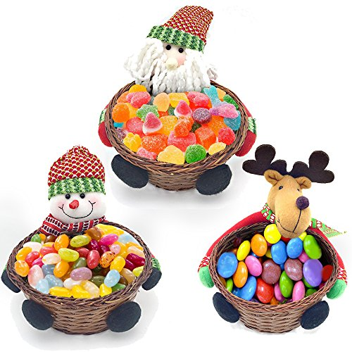 LUCKSTAR Christmas Candy Storage Basket - Set of 3 Candy Cookies Food Holder Bamboo Basket Christmas Decoration Storage Basket Santa Claus Elk Snowman Christmas Gift Basket