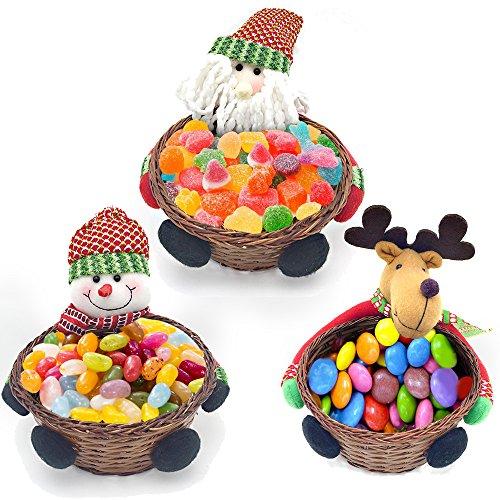 LUCKSTAR Christmas Candy Storage Basket - Set of 3 Candy Cookies Food Holder Bamboo Basket Christmas Decoration Storage Basket Santa Claus Elk Snowman Christmas Gift Basket (Christmas Card Funny Animated)