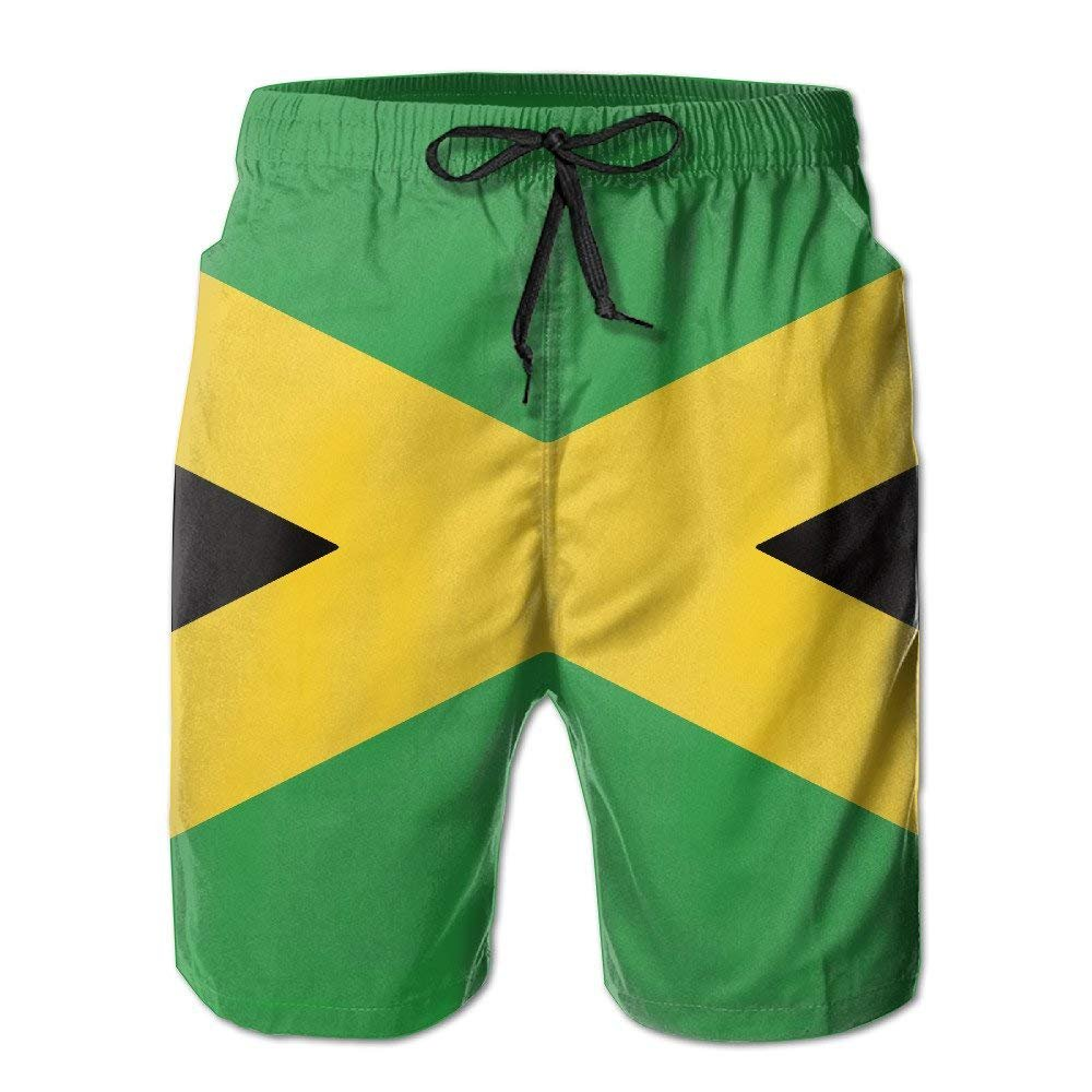 SINOVAL Mens Jamaican Flag Quick Dry Summer Beach Surfing Board Shorts Swim Trunks Cargo Shorts