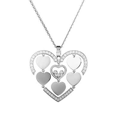 Chopard 18kt white gold Happy Hearts diamond pendant necklace - Unavailable