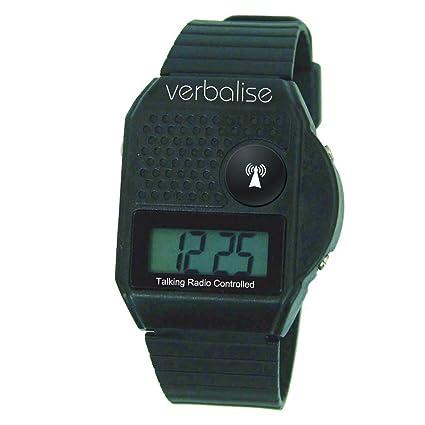 Verbalise Reloj digital controlado por radio, incluye botón de voz en la parte