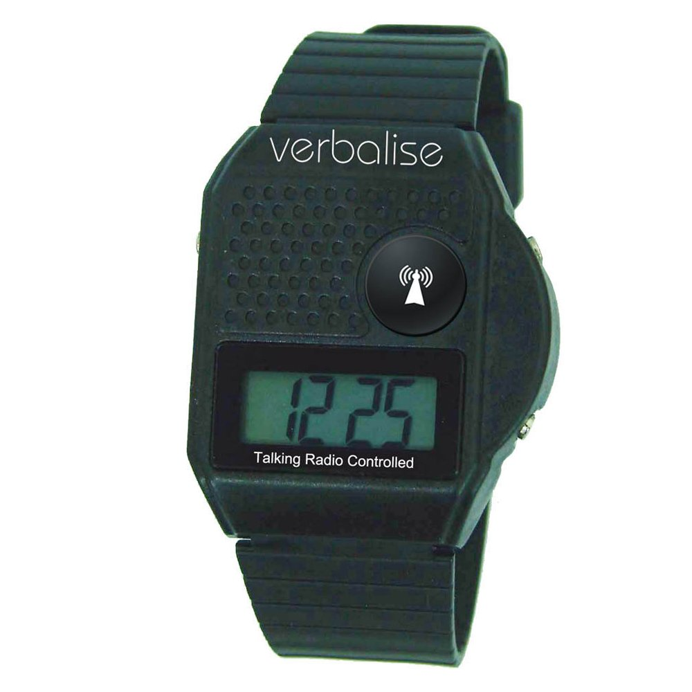 Verbalise Top Button Digital Radio Controlled Talking Watch 5 Alarms (Black)