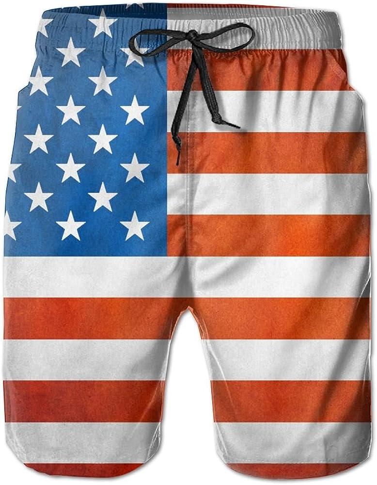 PIN Lightweight Quick Dry Vintage American Flag Beach Shorts Swim Trunks Beach Pants