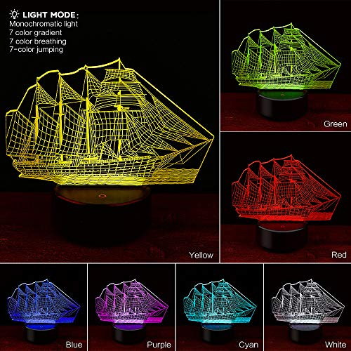 Glumes Sailboat Night Lights for Kids Birthday Toy 3D Illusion Lamp Christmas Gifts for Boys Girls Home Bedroom Party Supply Decoration 7 Color Cute Toy Touch Control (Clear)