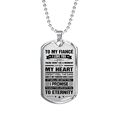 I Love You To My Fiance Dog Tags Military Necklace For Himher