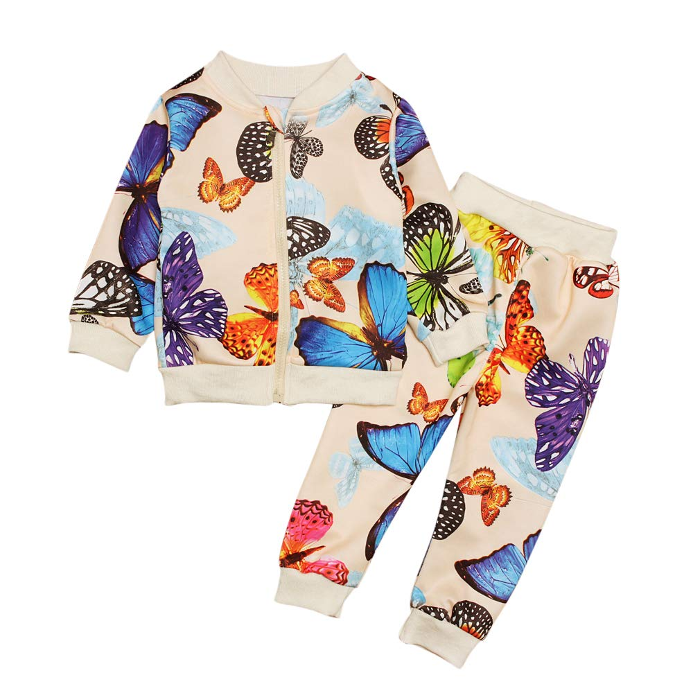 2 Pcs//Set Butterfly Print Coat and Pants Winter//Spring Outfits for 1-4 Years Baby Toddler Girl