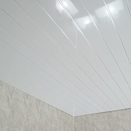 Claddtech White Chrome ceiling panels splashbacks - bathroom wall cladding  panels splashbacks kitchen shower wetrooms-100% Waterproof-By (12 Panel ...