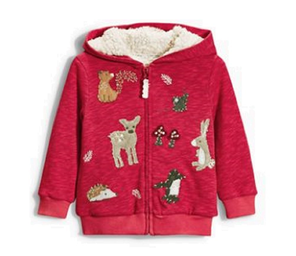 Baby Girls Red Zip Up Hoody Fleece Lined Age 3 6 Months Christmas Woodland Animals Next