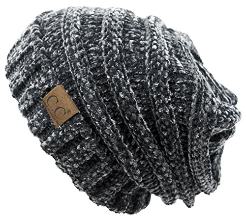 Funky Junque H-6100-85070 Oversized Slouchy Beanie - Chenille Charcoal