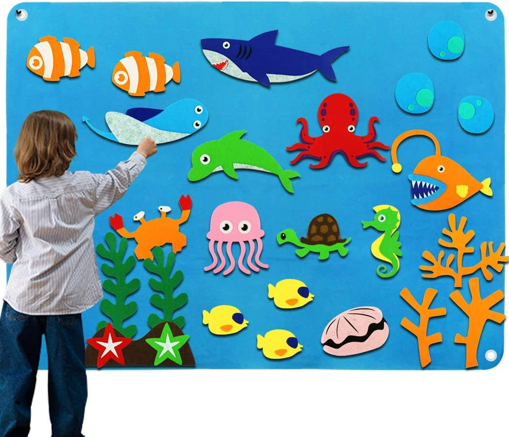 Kids Flannel Felt Board Story Sets for Toddler Preschool with Under The Sea World Animals Shark Figures Large Wall Hang Interactive Learning Classroom Activity Kits