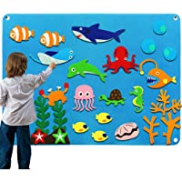 Kids Flannel Felt Board Story Sets for Toddler Preschool with Under The Sea World Animals Shark Figures Large Wall Hang…