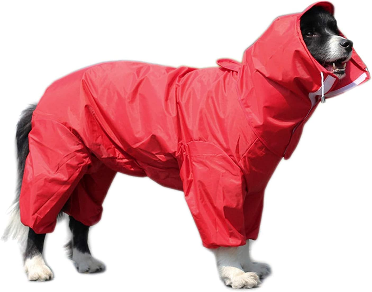 Blue Outdoor Adjustable Drawstring 26# Morezi Waterproof Dog Raincoat with Removable Hoodie Windproof Rain Snow Jacket Waterproof Rain Jacket with Hood /& Collar Hole