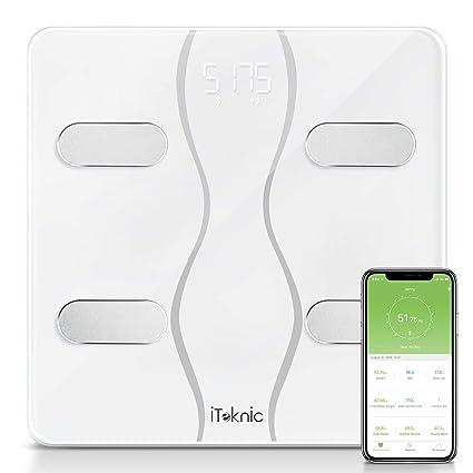 iTeknic Báscula Corporal Inteligente Multifuncionales con Bluetooth Conectar Smartphone Compatible de Andriod 4.3 y IOS 8