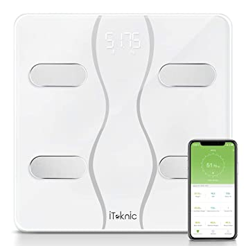 Báscula Grasa Corporal iTeknic Báscula Inteligente Bluetooth Báscula Digital Persona de Peso Profesional Analiza 13 Datos Masa Mascular BMI Grasa ...