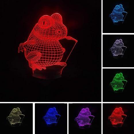 Ilusión óptica 3D Visión LED Rana de dibujos animados Luz de noche ...