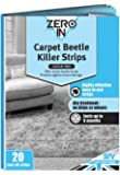 Zero In Carpet Beetle Killer Strips (20 Tear-Off Strips, Dry Household Treatment, Kills Carpet Beetles, Larvae and Eggs, up to 6 Months Protection)
