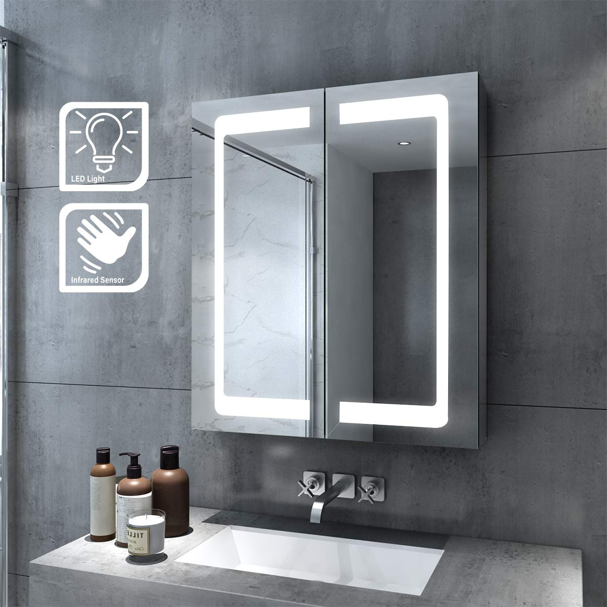 Elegant Bathroom Mirror Cabinet With Lights 60cm Led Mirror With