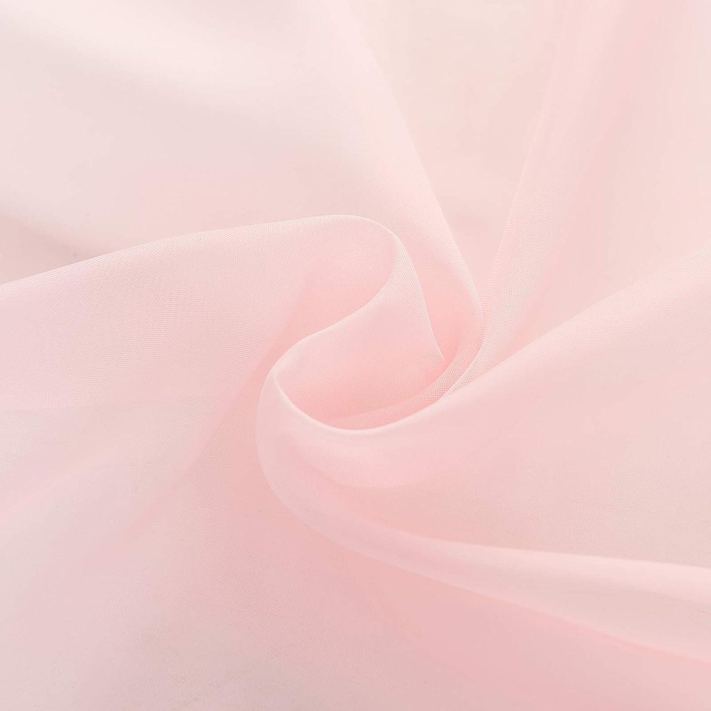 Rose WOLTU 2X Rideaux Voilages Voile de Fen/être Transparent /à Pattes,Douceur dint/érieur pour Salon VH5903rs-2 140x175 cm