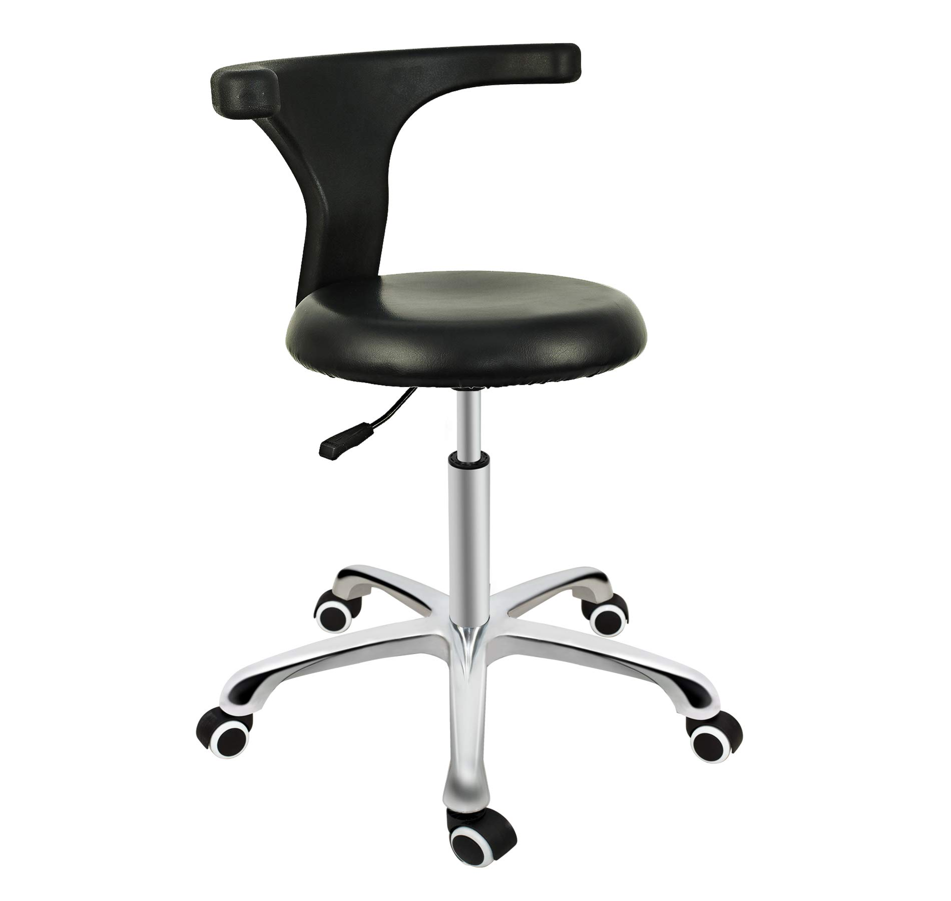 Grace & Grace Professional Task Stool Chair LUX Series Extra Large Seat Rolling Swivel Pneumatic Adjustable Heavy Duty for Dentist, Shop, Office and Home (with Backrest Steel Base, Black) by Grace & Grace