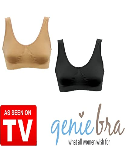 dd8c6781a20 Genie Bra- 2 Pack (Nude and Black)- Large  Amazon.ca  Baby