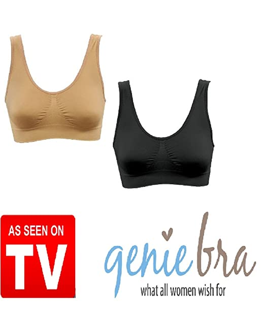 aa0f0bbe859ae Genie Bra- 2 Pack (Nude and Black)- Large at Amazon Women s Clothing ...