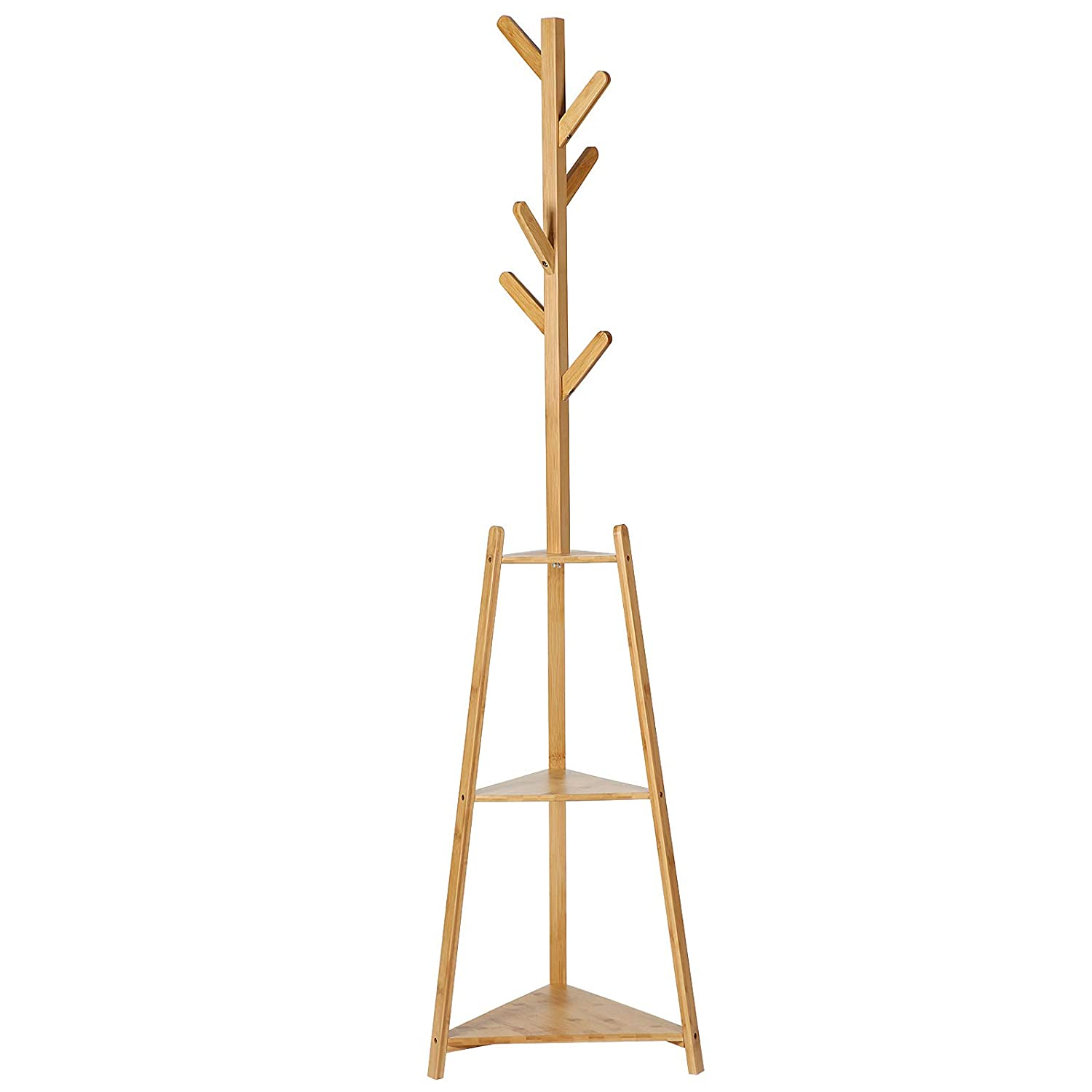 SONGMICS Bamboo Coat Rack Free Standing with 2 Storage Shelves, Coat Tree with 6 Hooks, Hall Tree Enterway Coat Holder for Coat, Hat, Clothes, Scarves, Natural