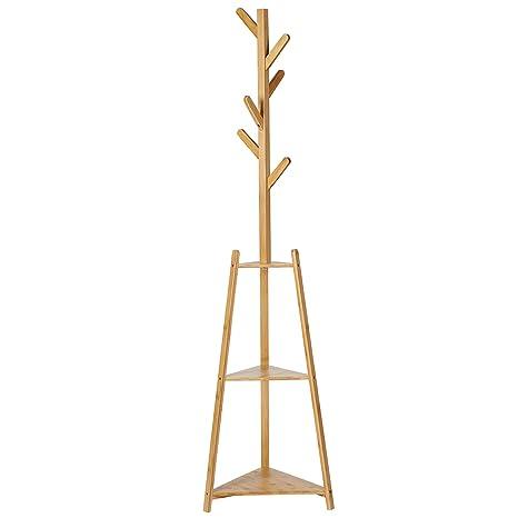 SONGMICS Perchero de Bambú con 2 Estantes de Almacenamiento ...