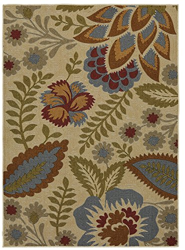 (Mohawk Home Soho Crewel Floral Spice Printed Area Rug, 5'x7', Beige)