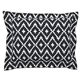 Roostery Trend Euro Flanged Pillow Sham Southwest Diamond Chevron White On Black by Fable Design Natural Cotton Sateen Made