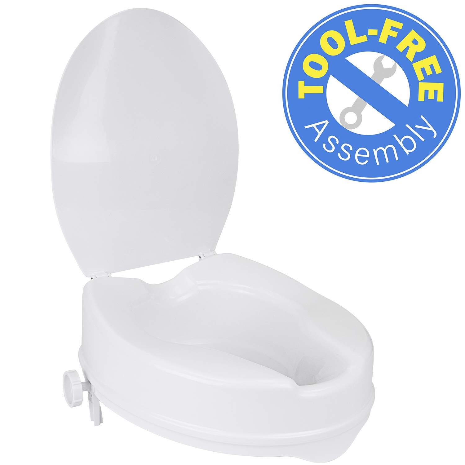 Vaunn Medical Clamp-On 4'' Height Raised Toilet Seat Riser for Standard Size Round Toilets (16.5'') by Vaunn