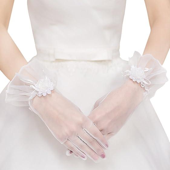 Women Wedding Dress Gloves Short White Gauze Gloves Bridal Gloves ...