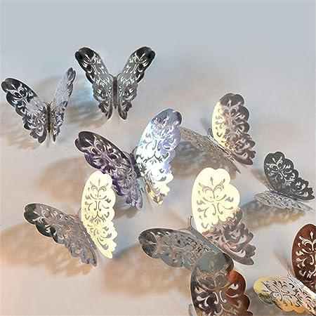 ufengke Papillons 3D Simulation Creux Stickers Muraux Dor/é M/étal Texture Papillons Autocollants Mural D/écorations Murale pour Salon Chambre 12 Pi/èces