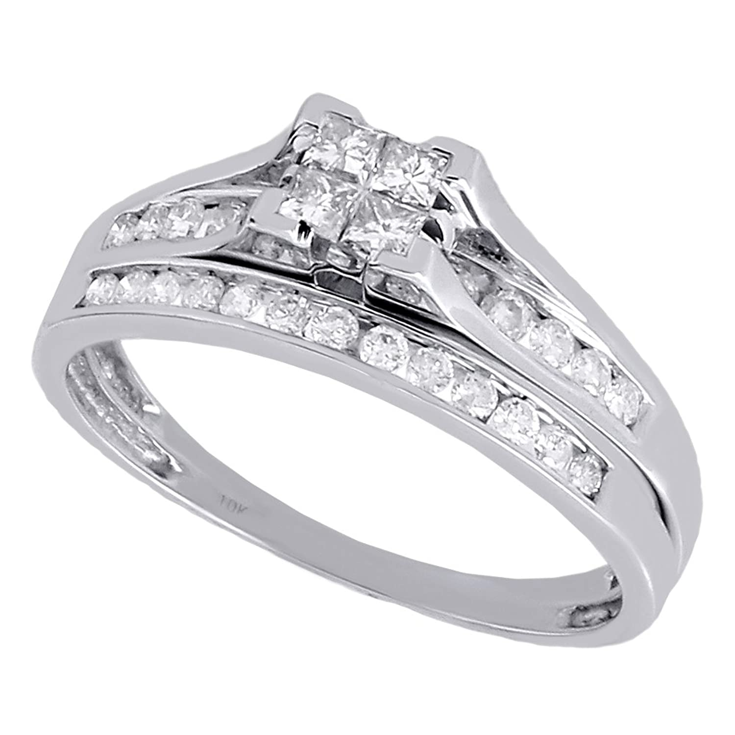 amazoncom 10k white gold quad princess cut diamond engagement ring bridal set 047 cttw jewelry - Dolphin Wedding Rings