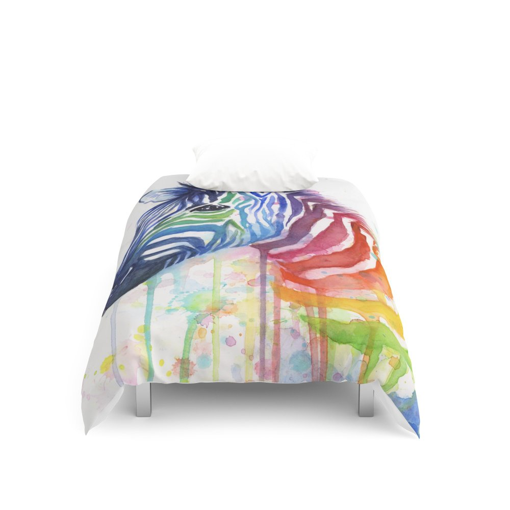 Society6 Zebra Watercolor Rainbow Animal Painting Ode to Fruit Stripes Duvet Covers Twin XL: 68'' x 92''