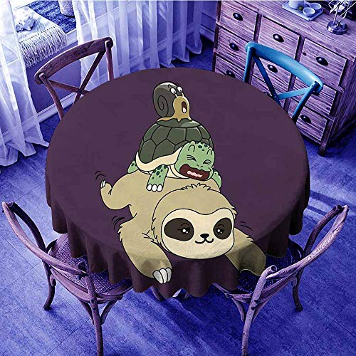 Sloth Circular Table Cover Funny Cartoon Scenery with Sloth Turtle Snail on Top of Each Other Slow Down Phrase Food Round Tablecloth Multicolor Diameter 60
