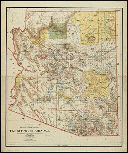 Rare 1897 Antique (Historic Map | 1897 Territory of Arizona | Antique Vintage Reproduction)