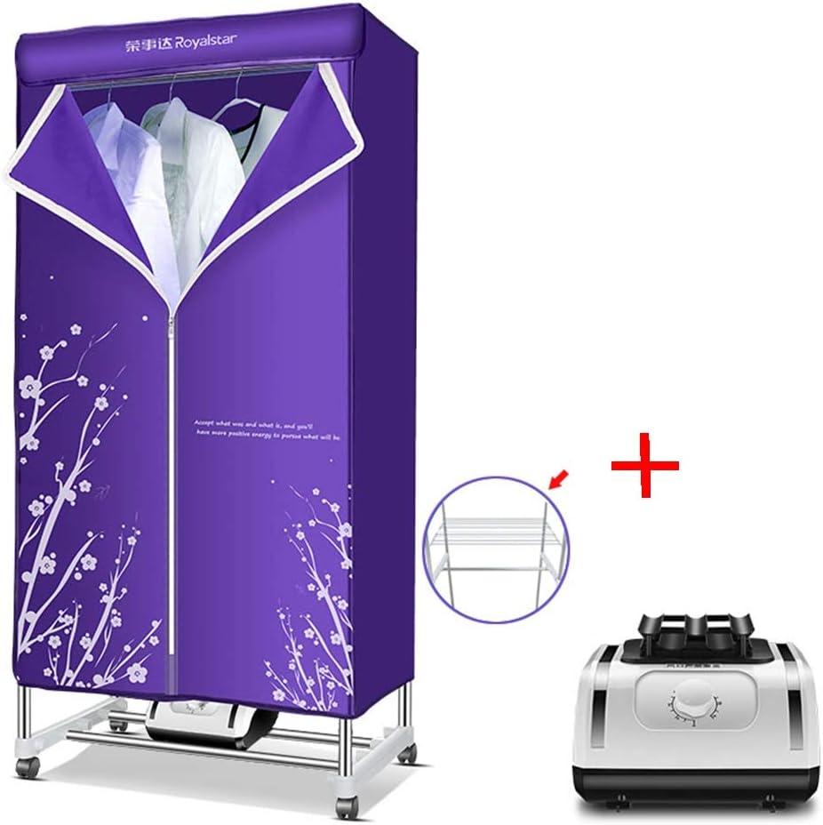 GUO@ Secador de tela plegable portátil 1200W tendedero eléctrico de gran capacidad de secado rápido armario multifuncional con calentador, todos los accesorios secadoras de ropa
